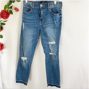 😎Aero High Rise Distressed Skinny Jeans Frayed